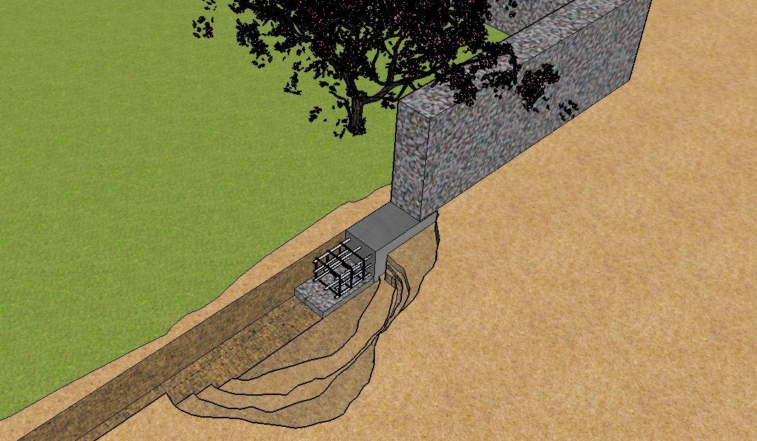 Streifenfundament Gartenmauer