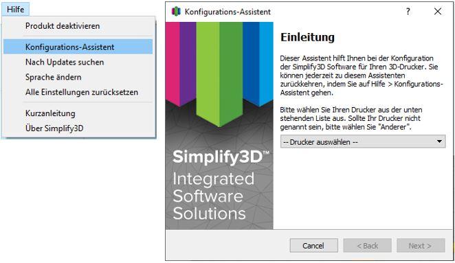 Silplify 3D Grundeinstellung