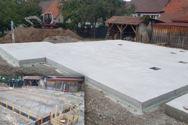 Fundament, Bodenplatte gießen