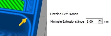 Einzelne Extrusionen