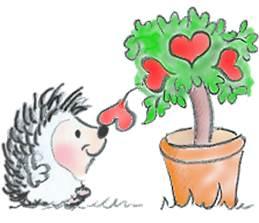 Igel mit Herz und Baum
